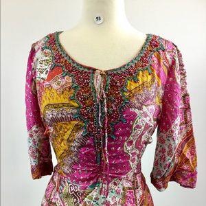 Dana Buchman Multi Pink/Gold Blouse Size S (B-93)
